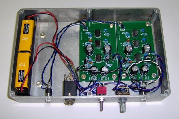 Assembled headphone amplifier