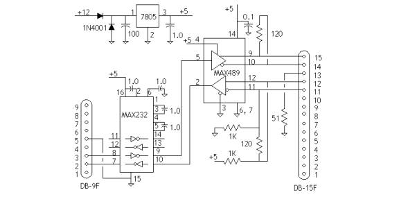 rs 422 rs232 schematic